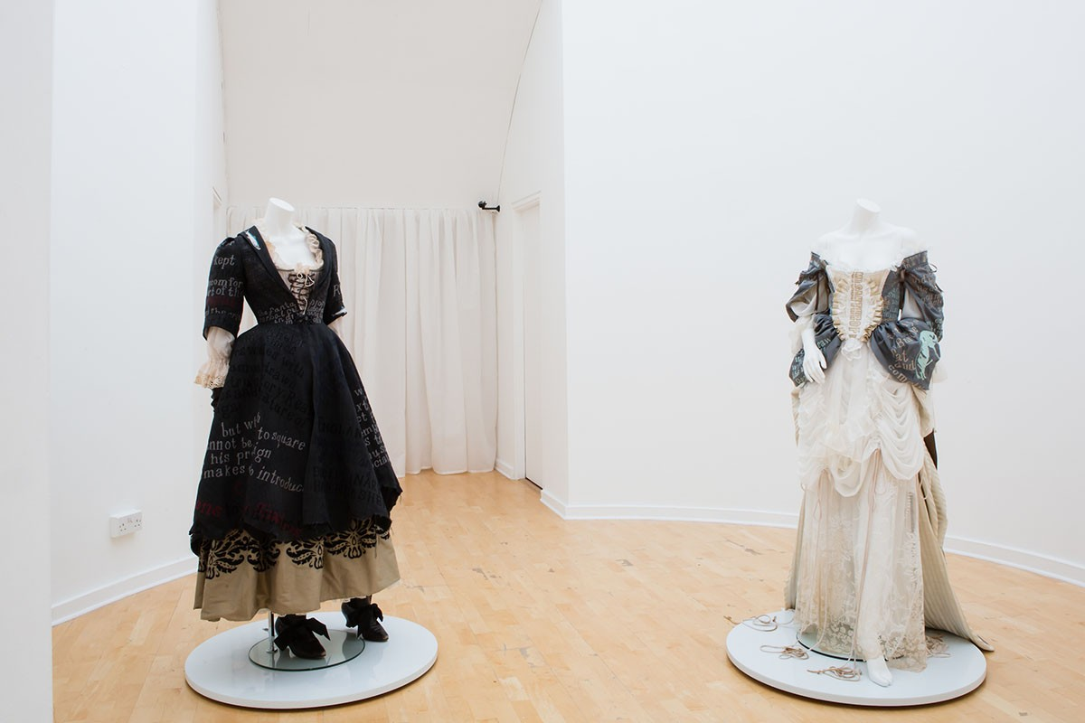 Georgia Horgan, Costumes for 'The Whore's Rhetorick', 2018. Installation view, At the Gates, 2018. Courtesy Talbot Rice Gallery, The University of Edinburgh.