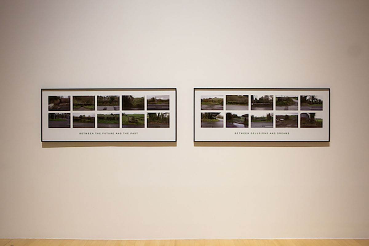 Willie Doherty, 'Between (Where the Roads Between Derry and Donegal Cross The Border)' 2019. Diptych: framed pigment prints. Installation view, Borderlines, 2019. Image courtesy Talbot Rice Gallery, The University of Edinburgh. .