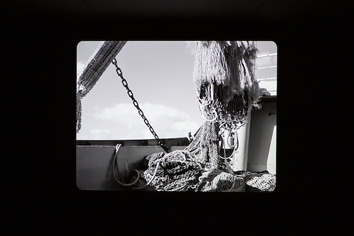 Lonnie van Brummelen & Siebren de Haan, , Borderlines, 2019. Image courtesy Talbot Rice Gallery, The University of Edinburgh. 'Episode of the Sea', 2014. 35mm film [digital transfer], 63 min. Installation view, Borderlines, 2019. Image courtesy Talbot Rice Gallery, The University of Edinburgh.