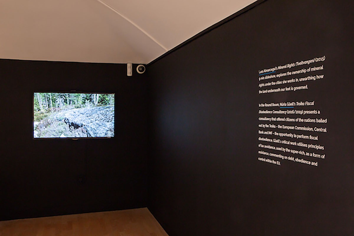 Lara Almarcegui, 'Mineral Rights (Tveitvangen)', 2015. Installation view, Borderlines, 2019. Image courtesy Talbot Rice Gallery, The University of Edinburgh.