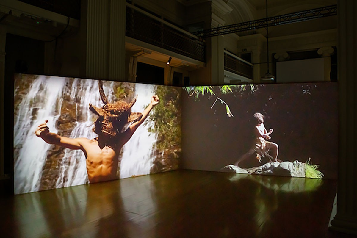Khvay Samnang, 'Preah Kunlong (The way of the spirit)' 2017. Two-channel video installations, 19 min. Installation view, Borderlines, 2019. Image courtesy Talbot Rice Gallery, The University of Edinburgh.