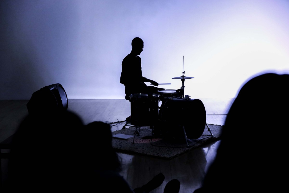 Paul Abbot drumming at his live performance at the Talbot Rice Gallery, The University of Edinburgh.