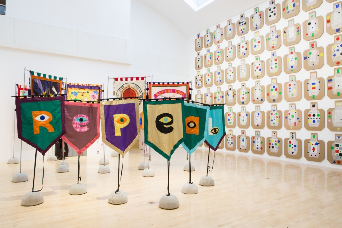 'Artists' Campaign to Repeal the Eighth Amendment', Bannerettes: 'R-E-P-E-A-L' 2017. Installation view, At The Gates, 2018. Image courtesy Talbot Rice Gallery, The University of Edinburgh.